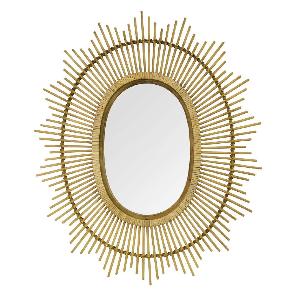 "36"" Kelly Bamboo Oval Wall Mirror - Stratton Home Decor S23805"