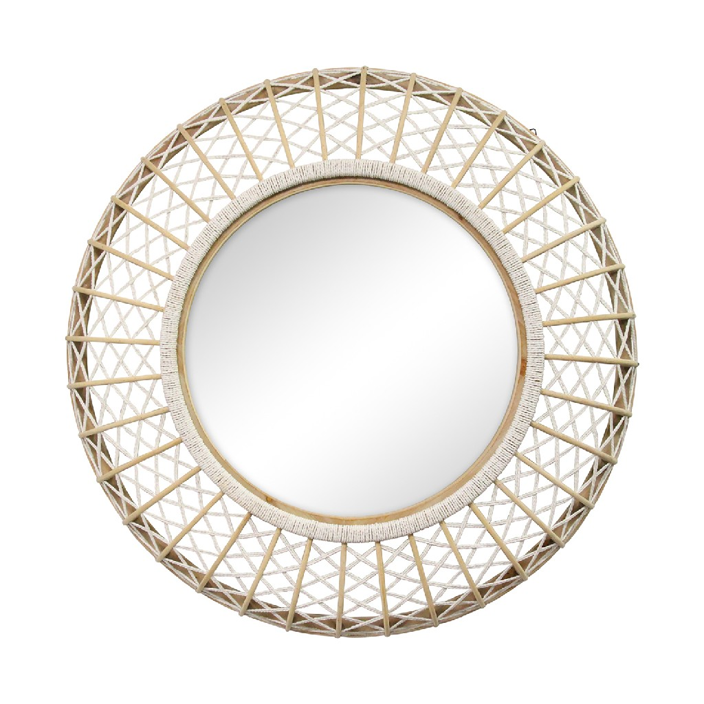 """33.50"""" Cassie Woven Rattan Wall Mirror - Stratton Home Decor S23806"""