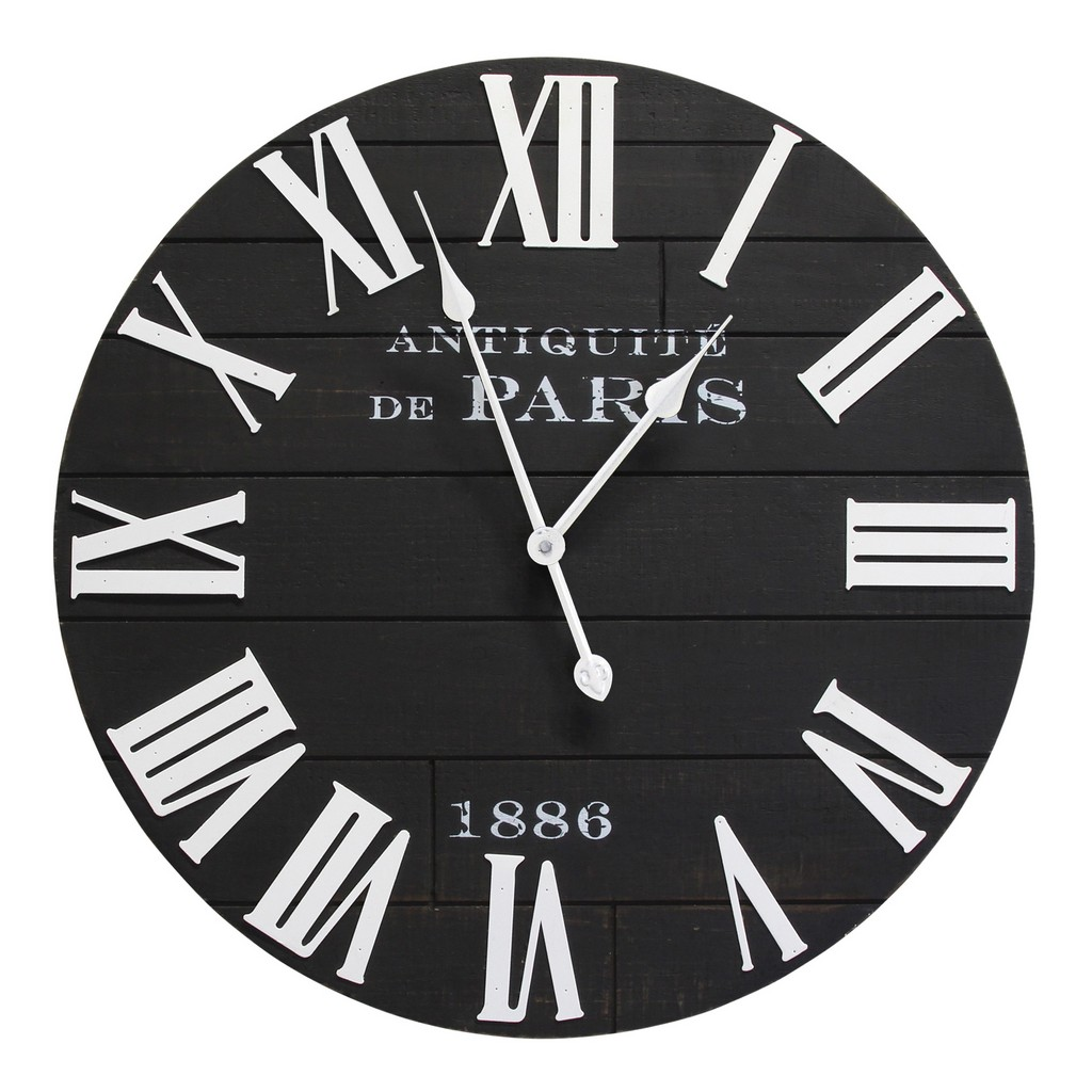 24 inch Vincent Black and White Wood Wall Clock - Stratton Home Decor S30879