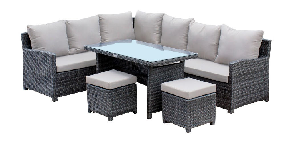 Hospitality Rattan Patio Ultra 5 PC Sectional Dining Set with Cushions - 890-3215F-GRY-5PC
