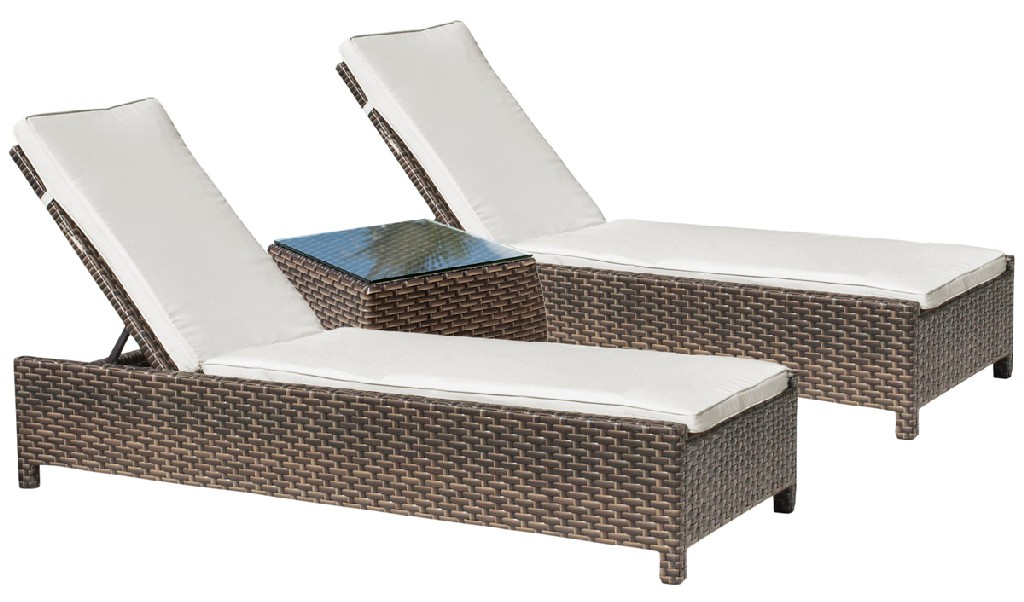 Fiji 3 PC Chaise Lounge Set w/gass - Hospitality Rattan Patio 901-1347-ATQ-3CL-GL