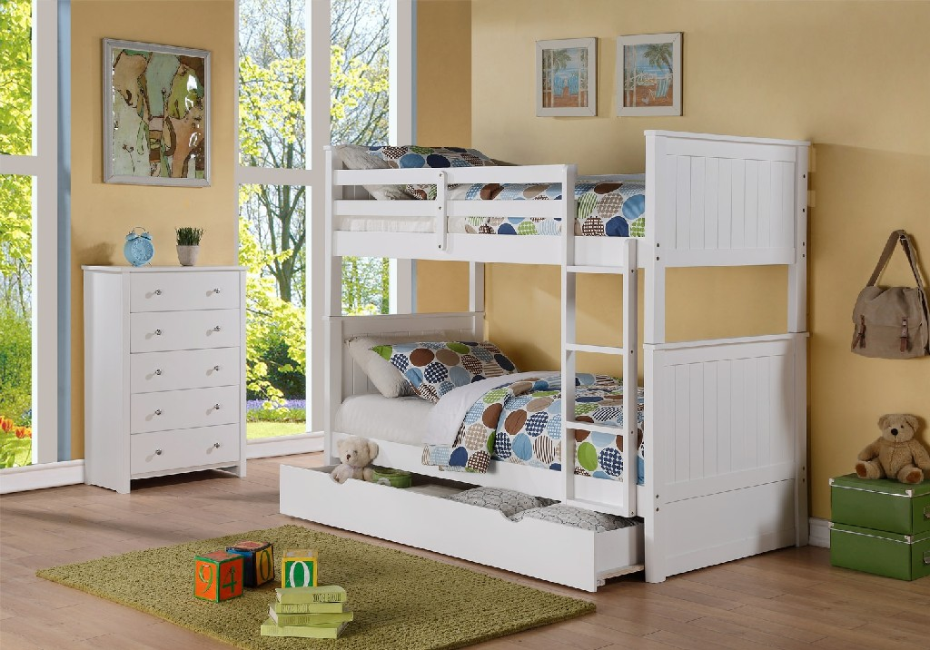 Myco Twin Captain Bed Twin Trundle Storage White Finish
