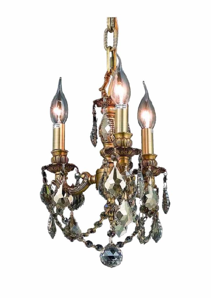 Elegant Lighting Lillie Light French Gold Pendant Golden Teak Smoky
