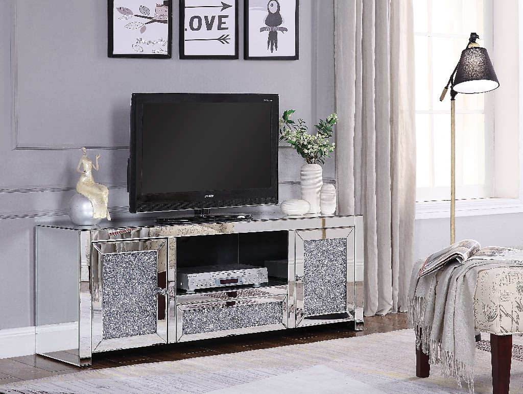 Acme Noralie Tv Stand Mirrored Faux Diamonds