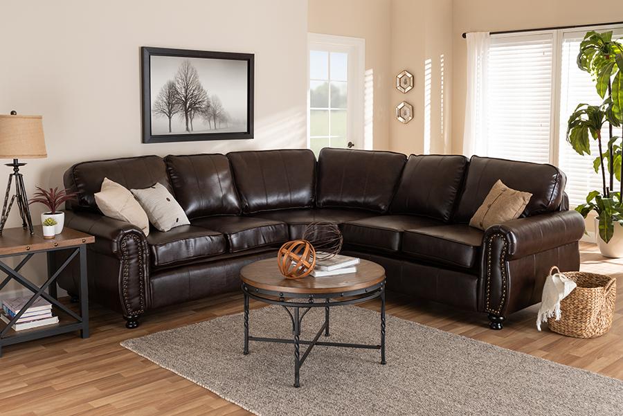 Wholesale Interiors Hammond Modern Contemporary Dark Brown Faux Leather