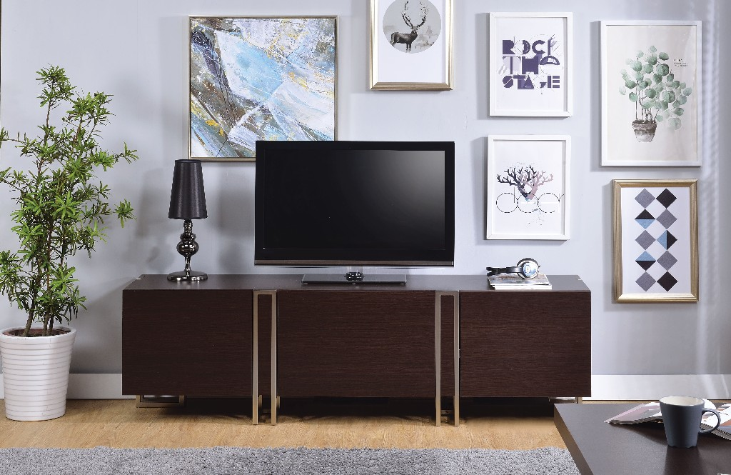 Acme Cattoes Tv Stand Dark Walnut Nickel