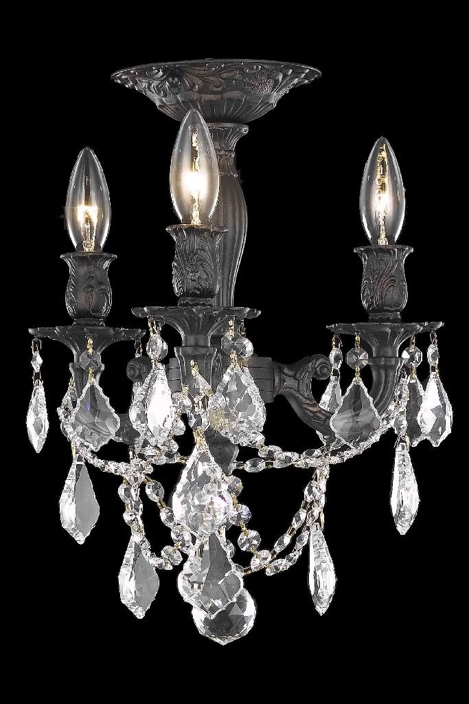 Elegant Lighting Light Dark Bronze Flush Mount Clear Elegant Cut Crystal