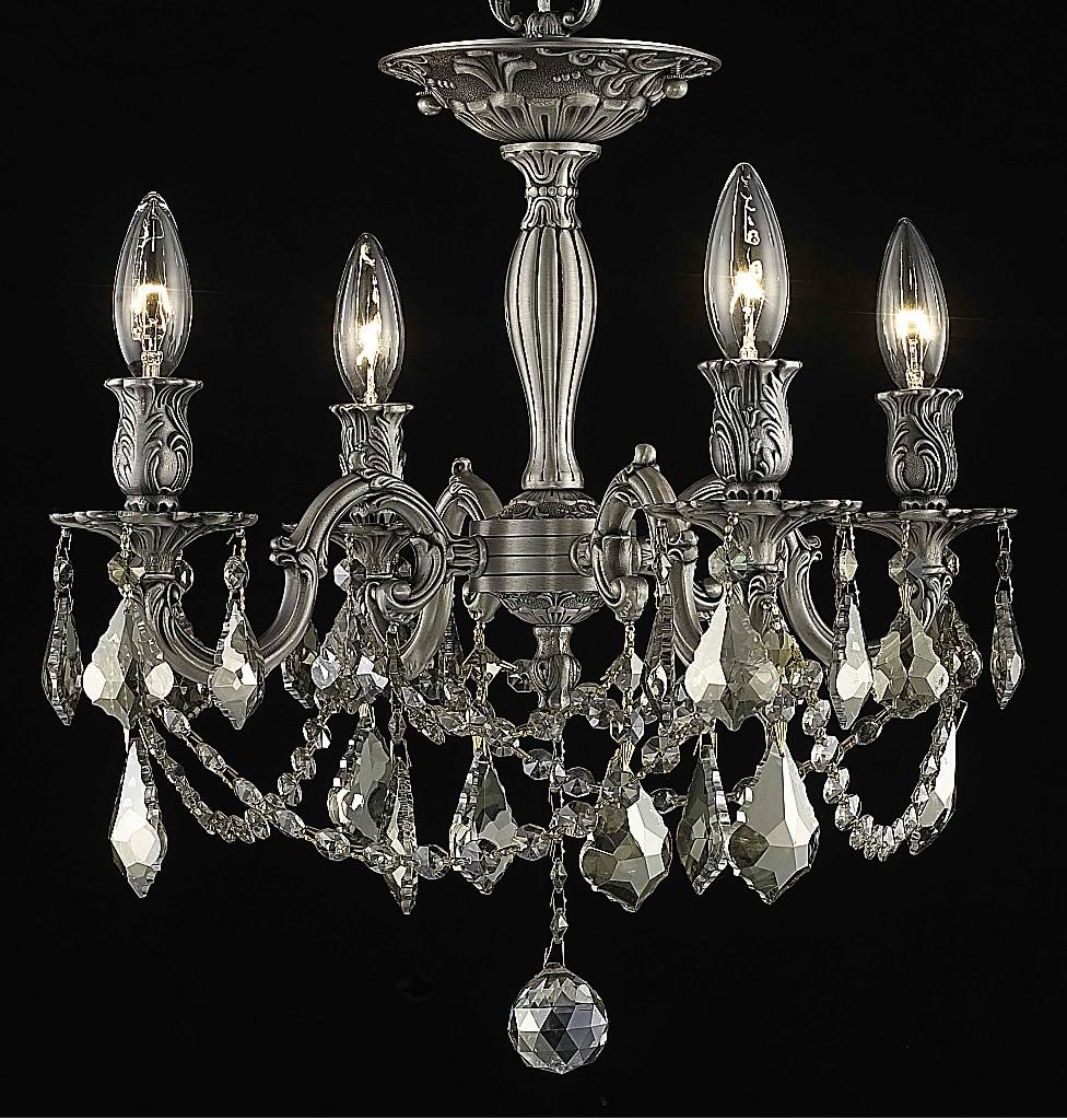 Elegant Lighting Light Flush Mount Golden Teak Smoky Elements Crystal