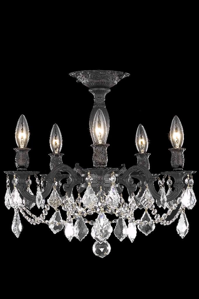 Elegant Lighting Light Dark Bronze Flush Mount Clear Royal Cut Crystal