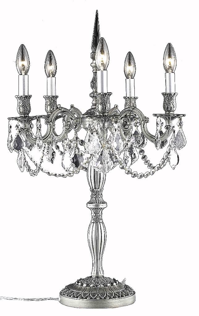 Rosalia 5 Light Pewter Table Lamp Clear Swarovskâ® Elements Crystal Elegant Lighting - 9205tl18pw/ss