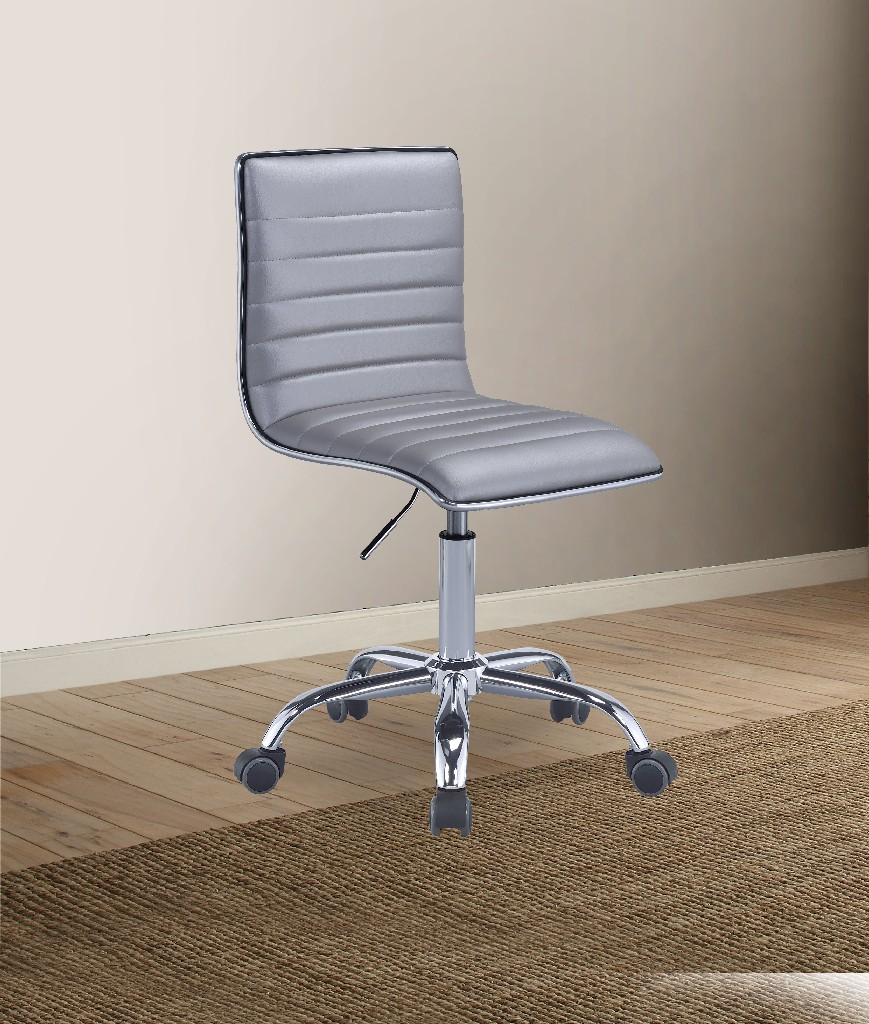 Alessio Office Chair in Silver PU & Chrome - Acme Furniture 92515