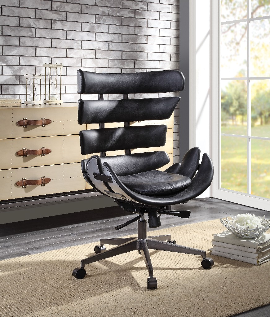 Furniture | Aluminum | Vintage | Leather | Office | Chair | Black | Top