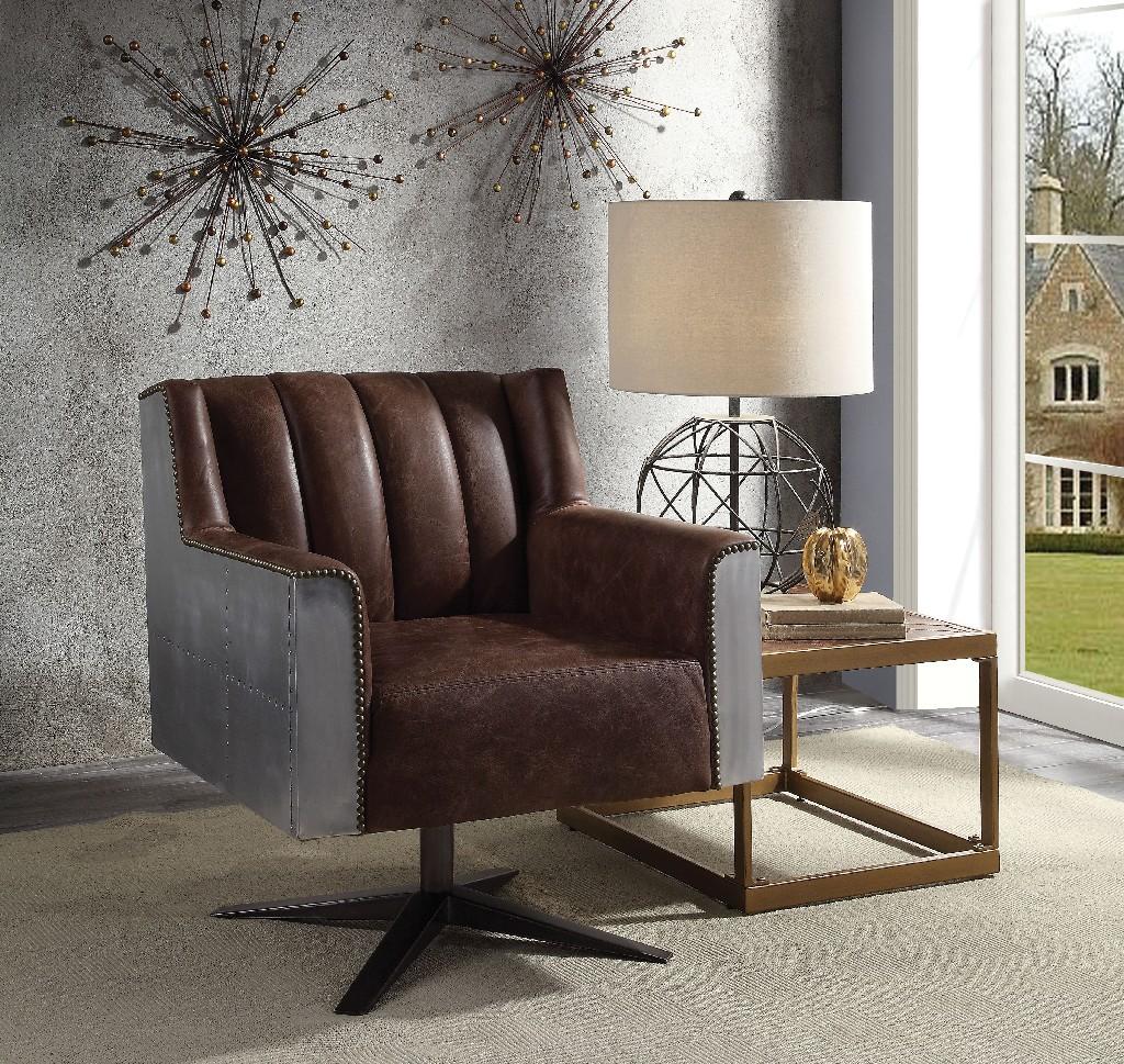 Acme Office Chair Retro Brown Grain Leather Aluminum