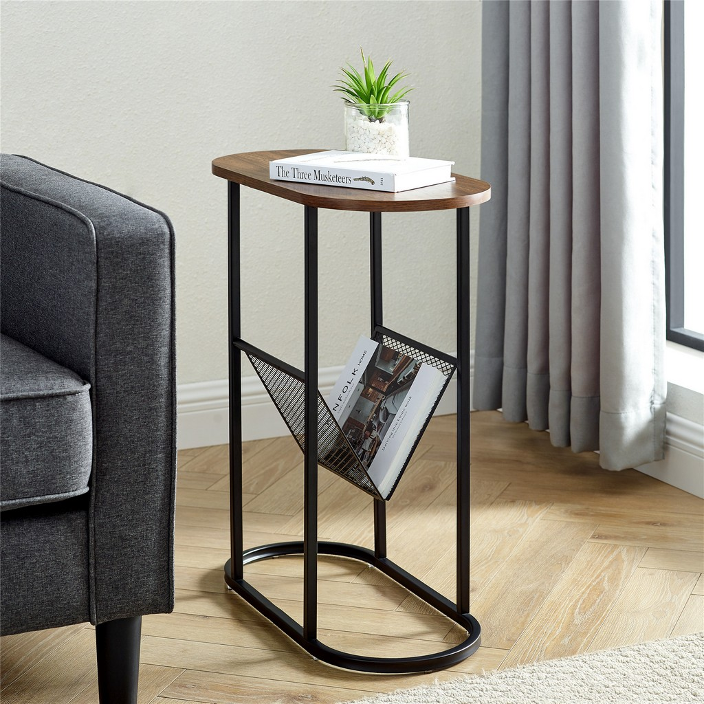"11"" Oblong Side Table with Magazine Rack - Dark Walnut - Walker Edison AF11MRGOSTDW"