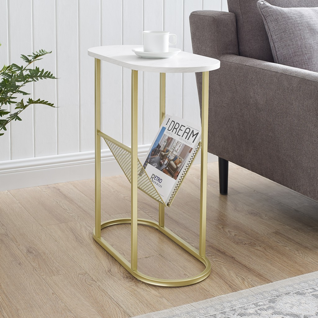 "11"" Oblong Side Table with Magazine Rack - Faux White Marble/Gold - Walker Edison AF11MRGOSTWM"