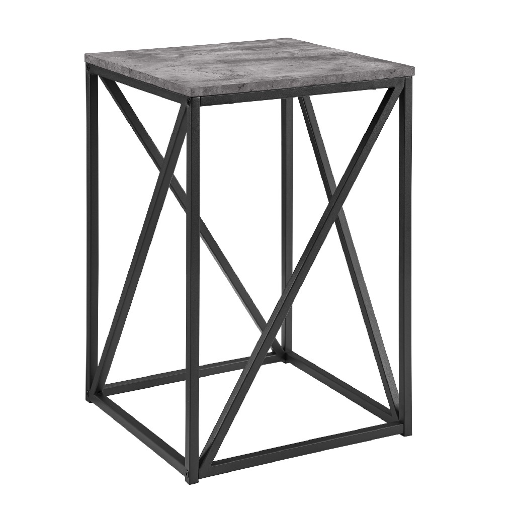"16"" Modern Geometric Square Side Table in Dark Concrete - Walker Edison AF16GEOSTDC"