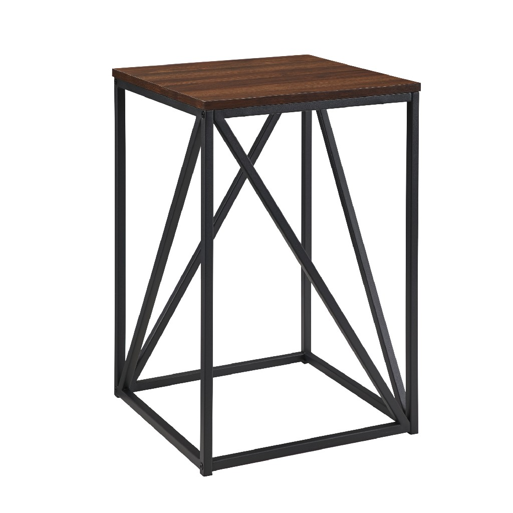 "16"" Modern Geometric Square Side Table in Dark Walnut - Walker Edison AF16GEOSTDW"