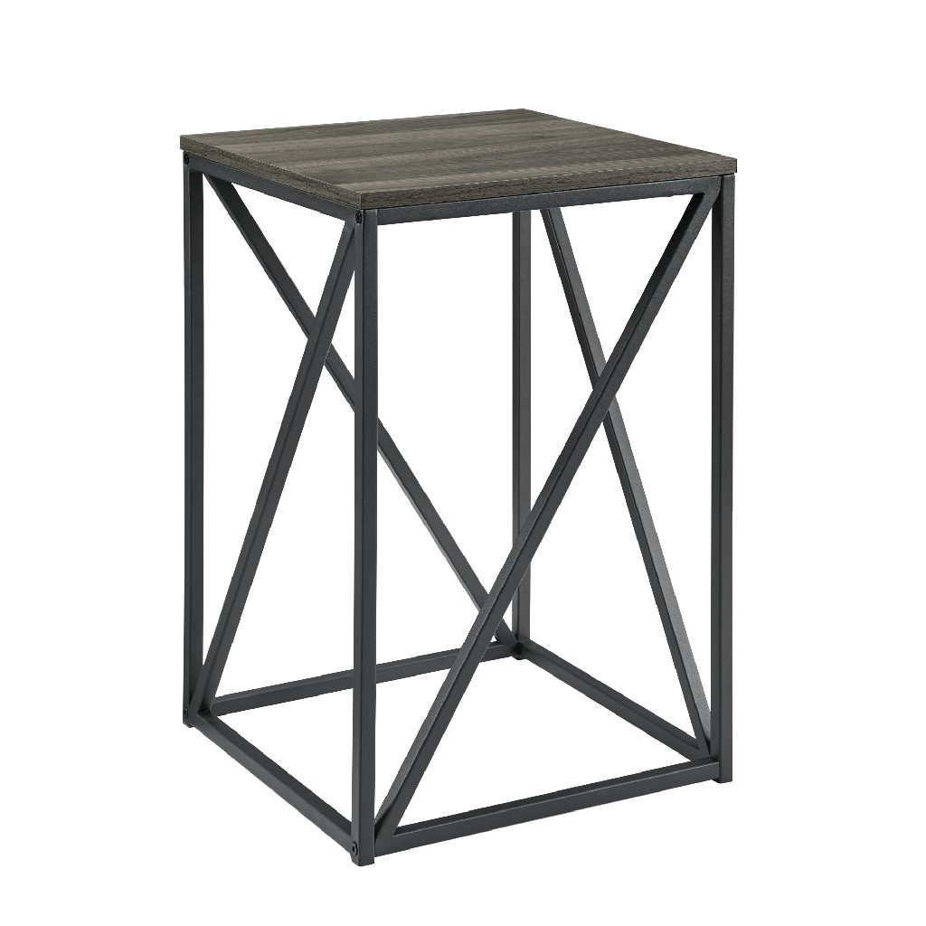 "16"" Modern Geometric Square Side Table in Slate Grey - Walker Edison AF16GEOSTSG"