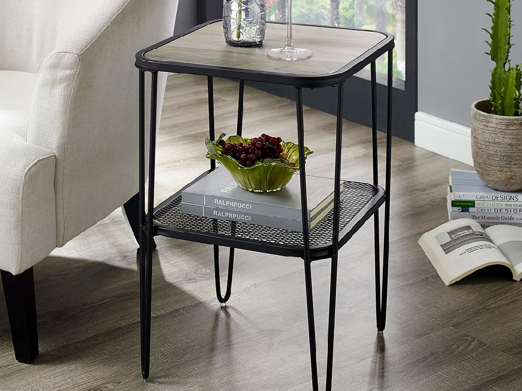"16"" Urban Industrial Mesh Metal Shelf Hairpin Leg Side Table in Grey Wash - Walker Edison AF16LOSTGW"