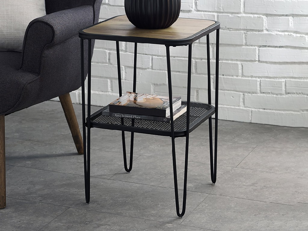 "16"" Urban Industrial Mesh Metal Shelf Hairpin Leg Side Table in Rustic Oak - Walker Edison AF16LOSTRO"