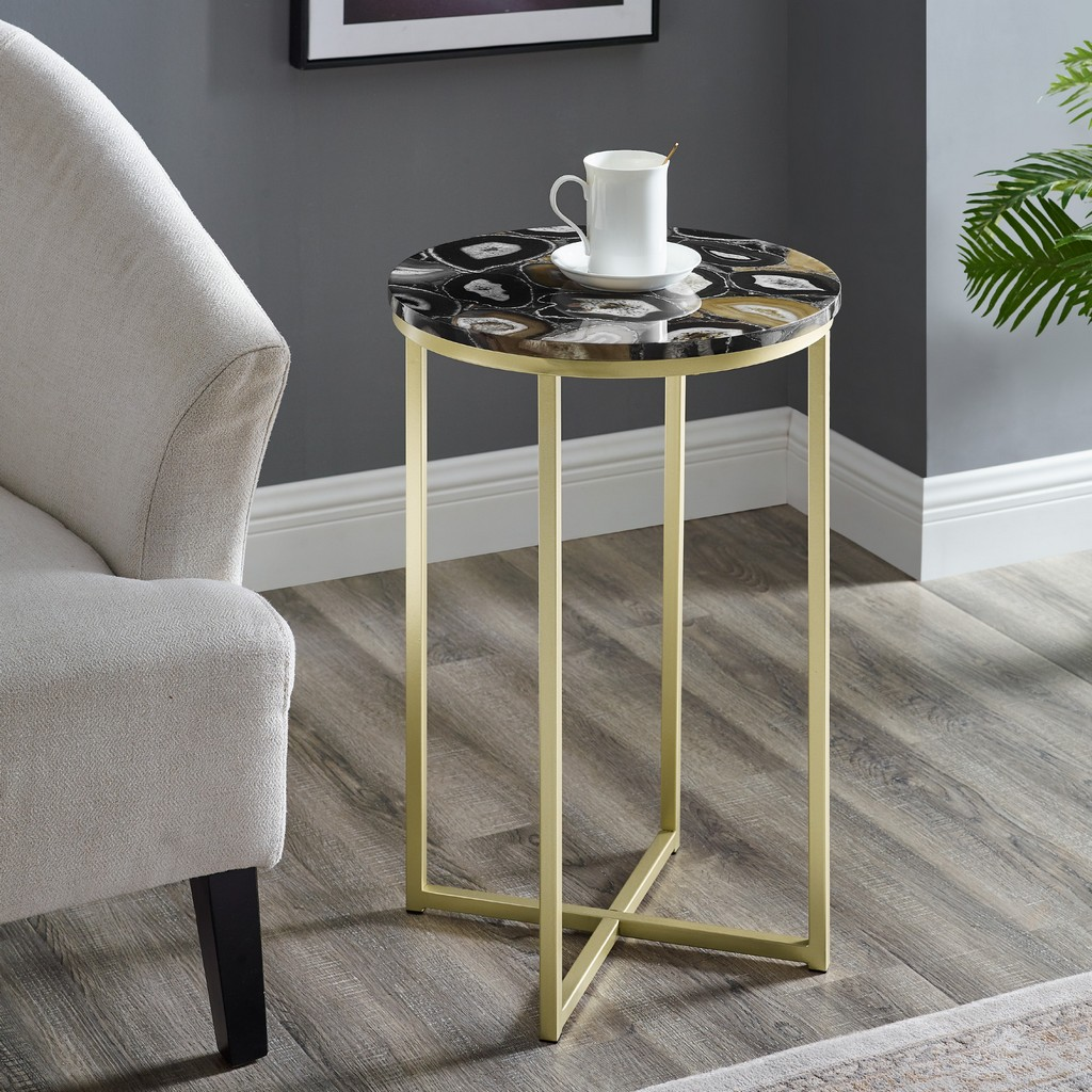 "16"" Faux Stone Round Glam Side Table - Faux Black Agate/Gold - Walker Edison AF16MELSTBLAGD"