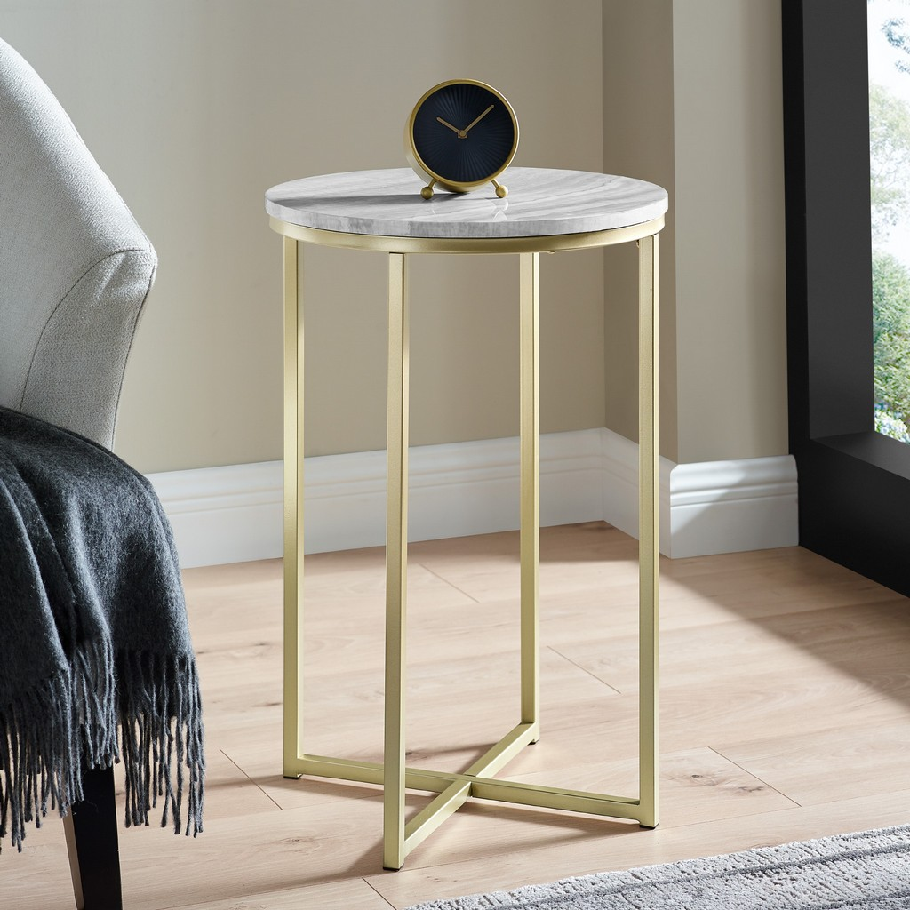 "16"" Faux Stone Round Glam Side Table - Faux Grey Vein Cut Marble/Gold - Walker Edison AF16MELSTGVGD"