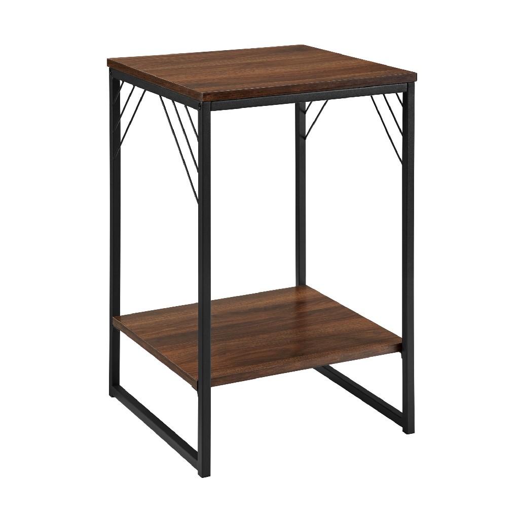 "16"" Industrial Metal Accent Side Table in Dark Walnut - Walker Edison AF16TRYSTDW"