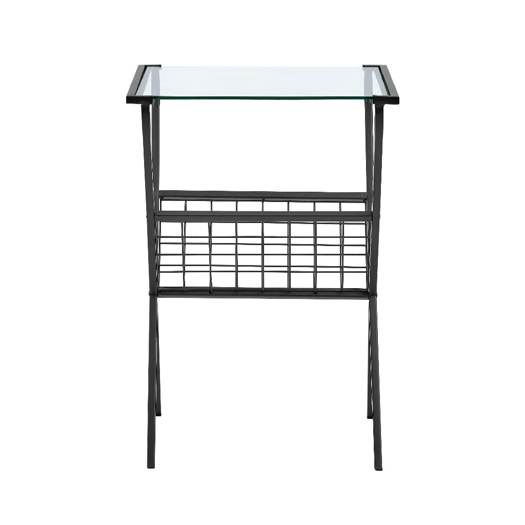 "17"" Modern Metal & Glass Side Table w/ Magazine Holder in Black - Walker Edison AF17EVNSTBL"