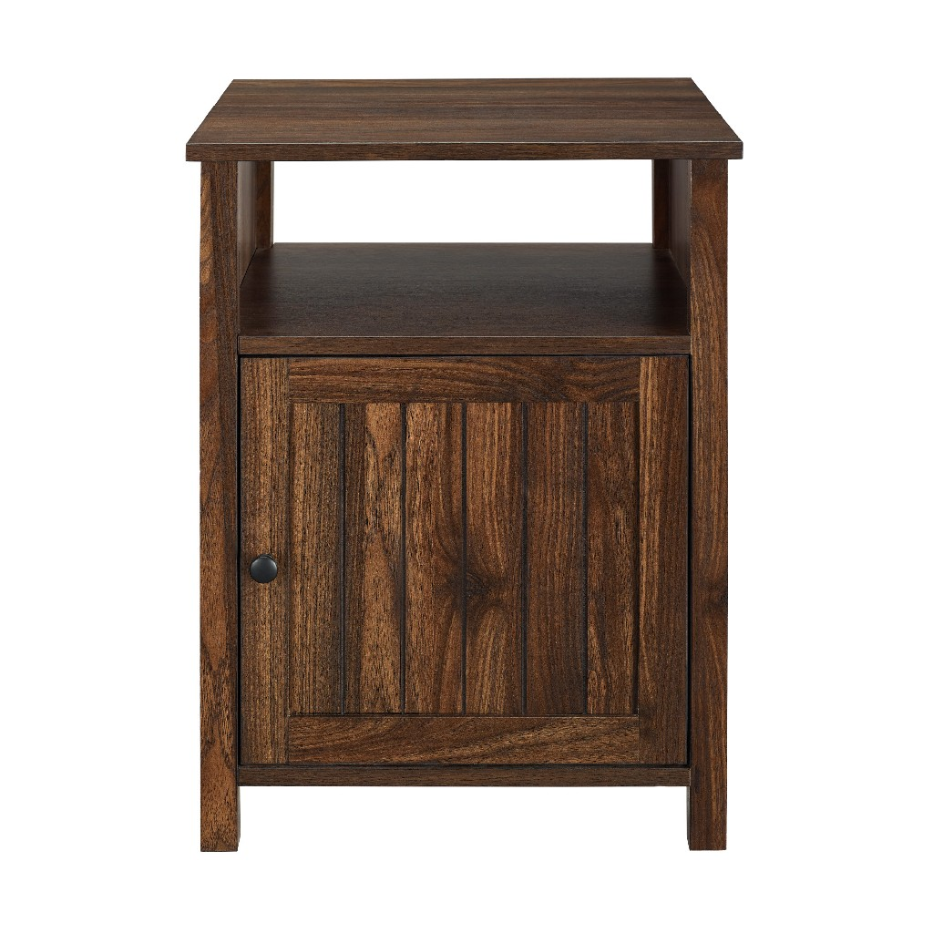 "18"" Grooved Door Side Table in Dark Walnut - Walker Edison AF18CRASTDW"