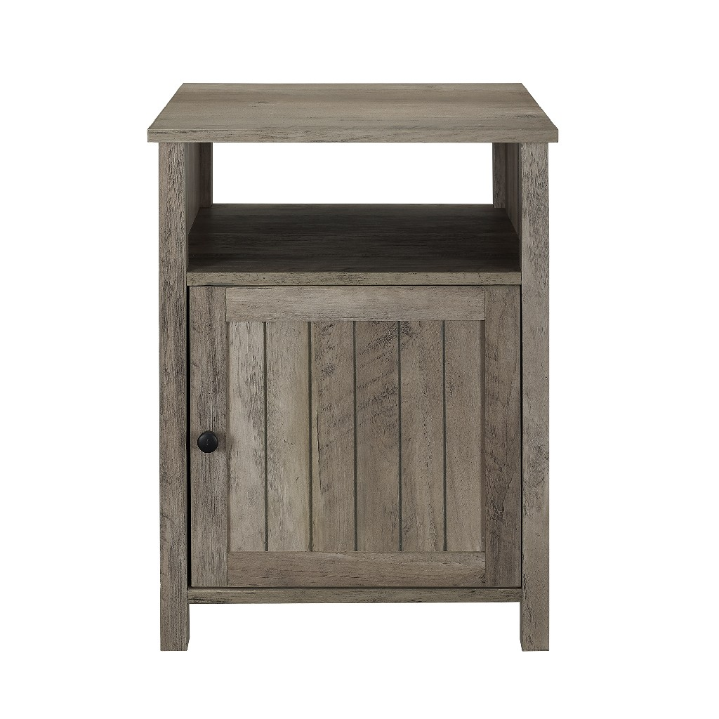 "18"" Grooved Door Side Table in Grey Wash - Walker Edison AF18CRASTGW"