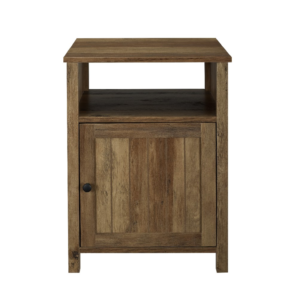 "18"" Grooved Door Side Table in Reclaimed Barnwood - Walker Edison AF18CRASTRO"