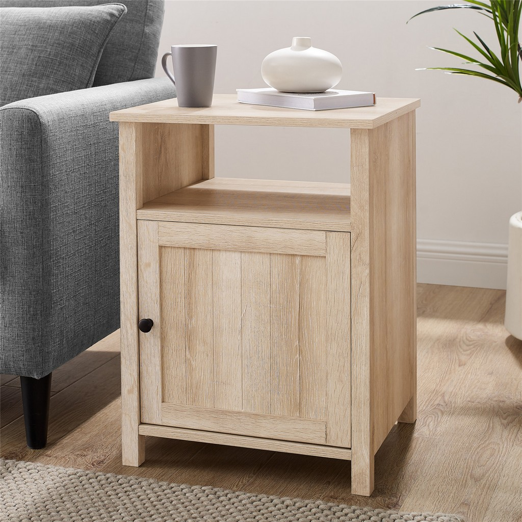 "18"" Grooved Door Side Table - White Oak - Walker Edison AF18CRASTWO"