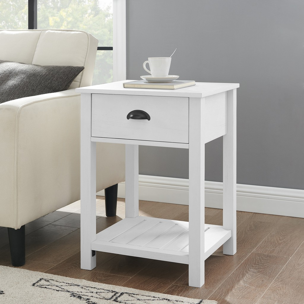 "18"" 1-Drawer Country Side Table - Brushed White - Walker Edison AF18CYSTBRW"