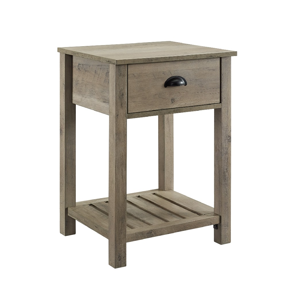 "18"" Country Single Drawer Side Table in Grey Wash - Walker Edison AF18CYSTGW"