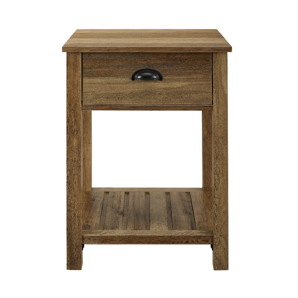 "18"" Country Single Drawer Side Table in Reclaimed Barnwood - Walker Edison AF18CYSTRO"