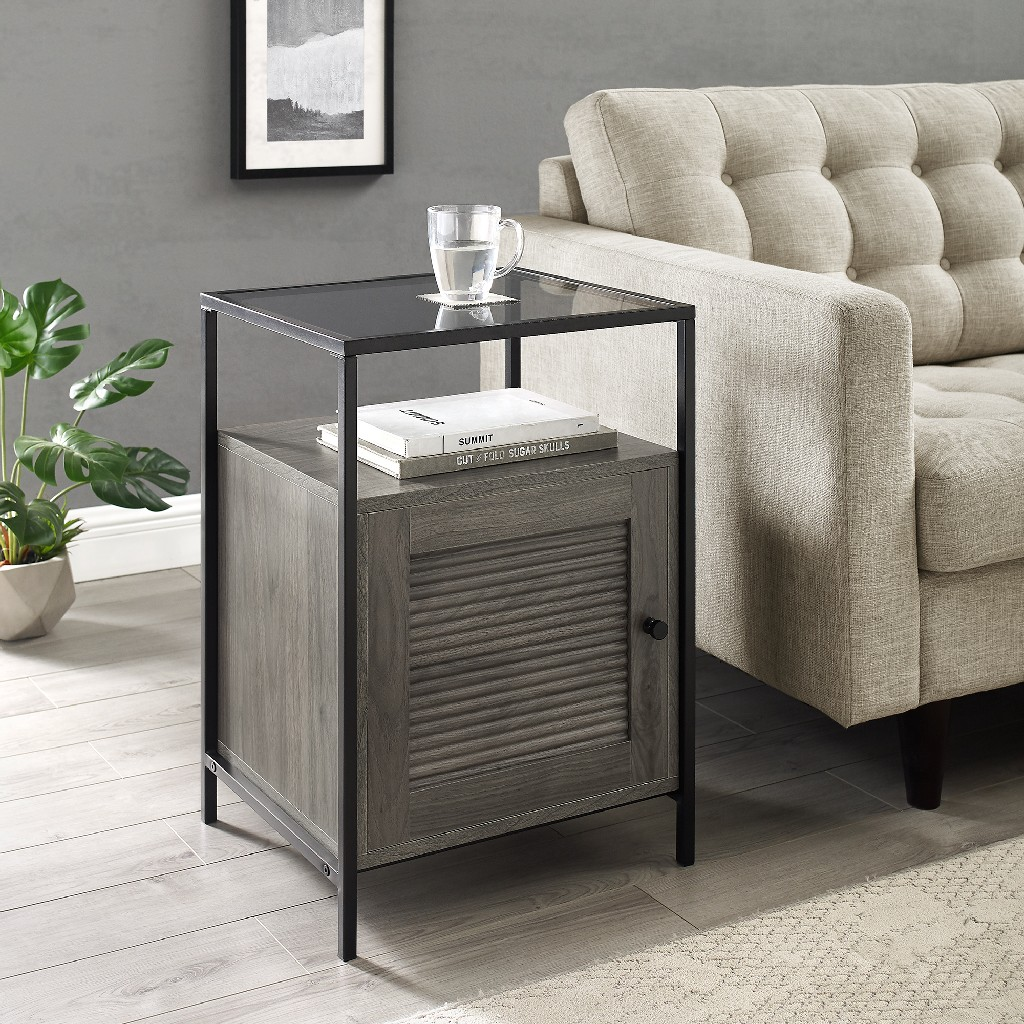 "18"" Fluted Door End Table in Slate Grey - Walker Edison AF18DEW1DSG"