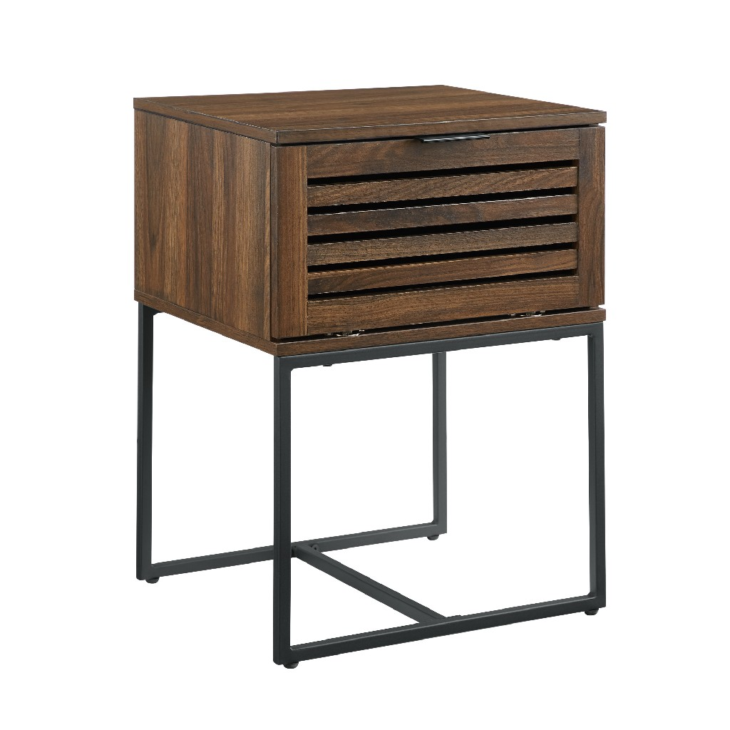 "18"" Modern Slat Door Side Table in Dark Walnut - Walker Edison AF18JACSTDW"