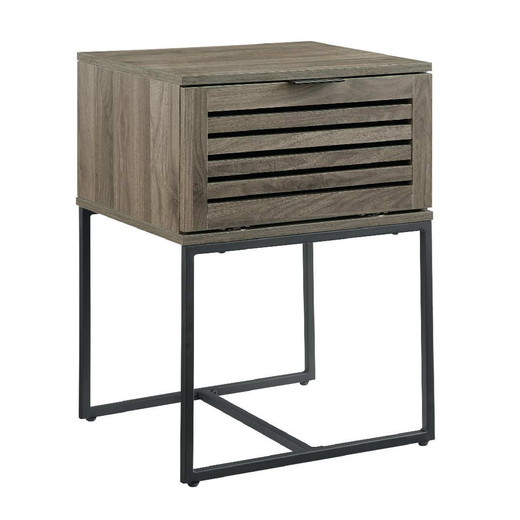 "18"" Modern Slat Door Side Table in Slate Grey - Walker Edison AF18JACSTSG"