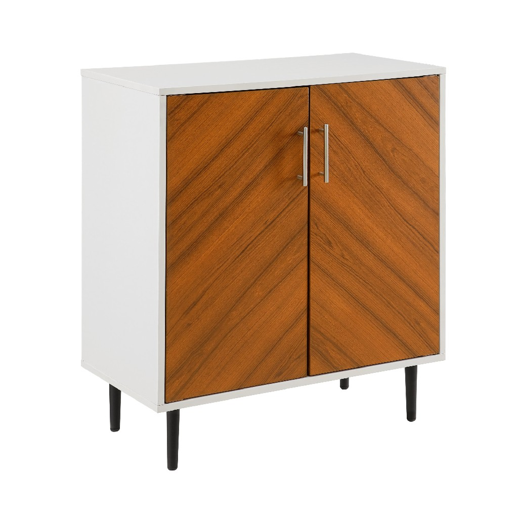 """28"""" Modern Bookmatch Accent Cabinet in Solid White - Walker Edison AF28BMHPSW"""