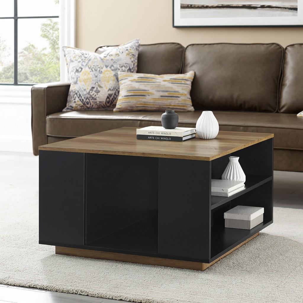 "Image of 30"" Square Storage Coffee Table - Solid Black/Reclaimed Barnwood - Walker Edison AF30DELSQCTSBRO"