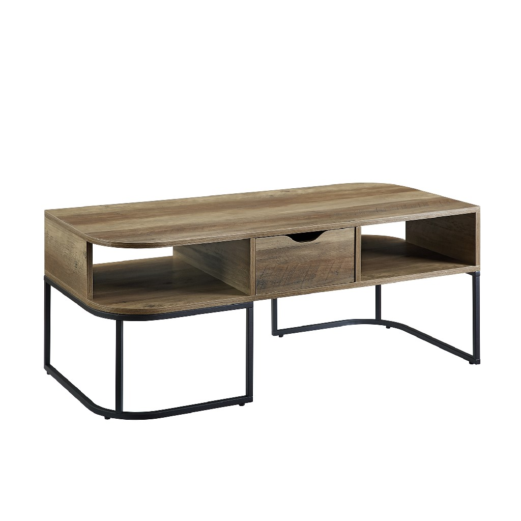 1-Drawer Curved Coffee Table in Reclaimed Barnwood - Walker Edison AF44JNCVCTRO