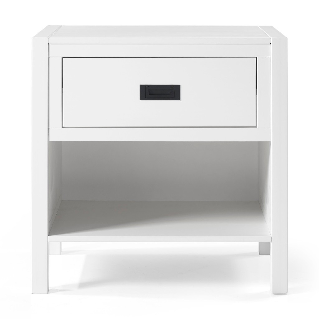 1-Drawer Classic Solid Wood Nightstand in White - Walker Edison BR1DLYDNSWH
