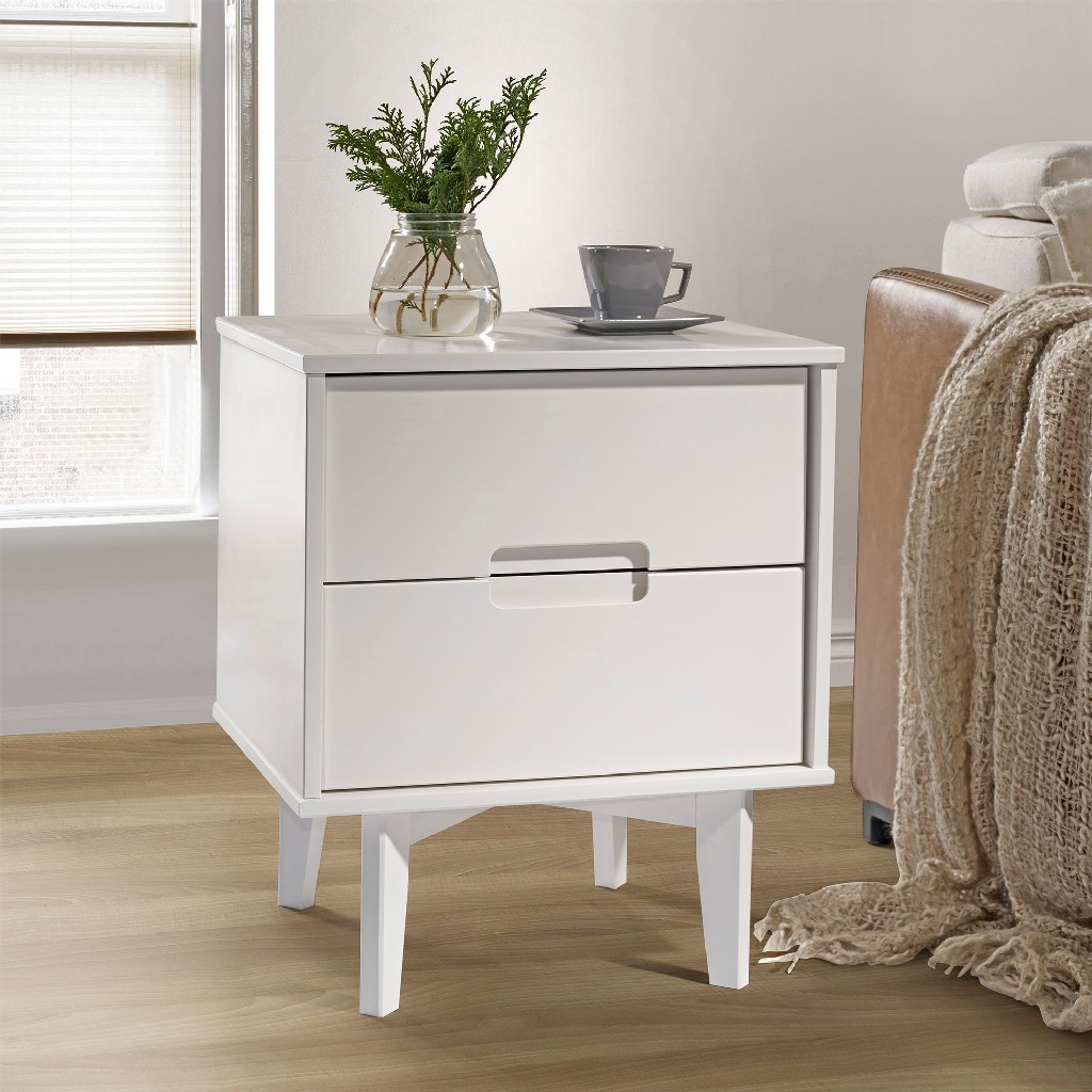 2-Drawer Groove Handle Wood Nightstand in White - Walker Edison BR2DSLNSWH