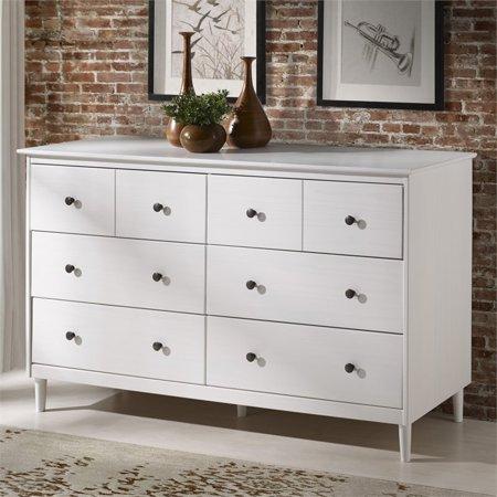 Modern 6 Drawer Dresser in White - Walker Edison BR6DDDRWH Image