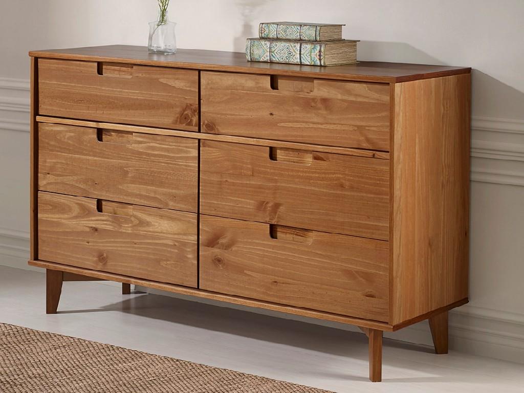 6 Drawer Mid Century Modern Wood Dresser in Caramel - Walker Edison BR6DSLDRCA Image
