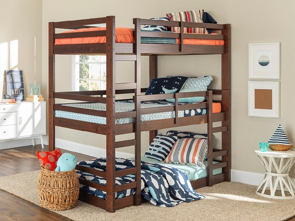 Solid Wood Triple Bunk Bed In Walnut Walker Edison Bw3totwt