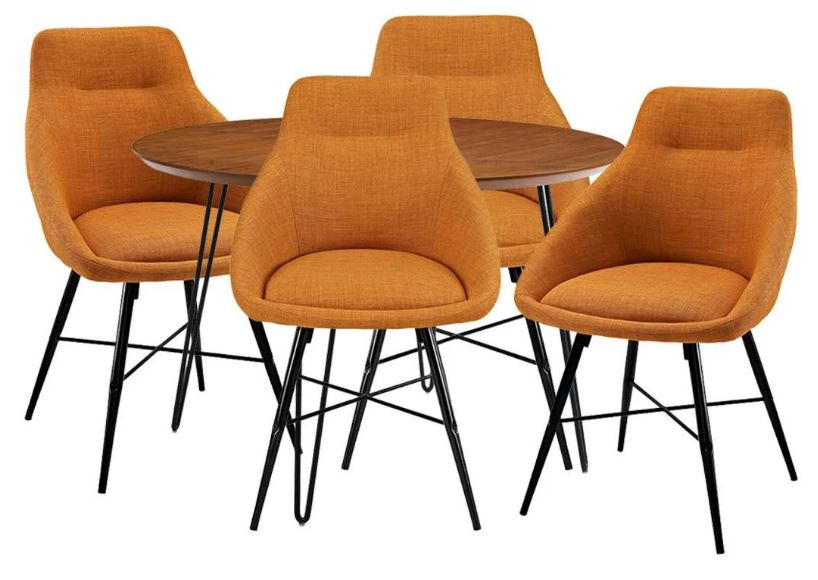 Walker Edison Wood Round Hairpin Table Upholstered Chairs Dining Set