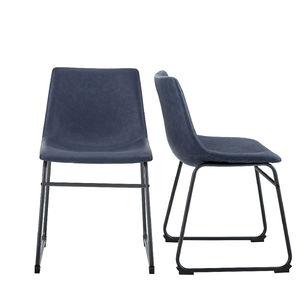 "18"" Faux Leather Dining Chair in Navy Blue (Set of 2) - Walker Edison CHL18BU"