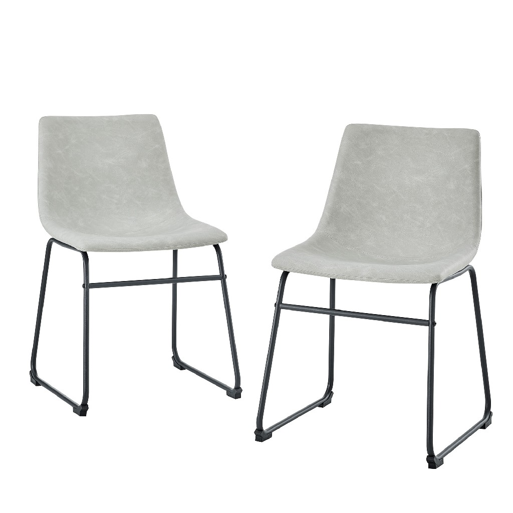 """18"""" Faux Leather Dining Chair in Grey (Set of 2) - Walker Edison CHL18GY"""