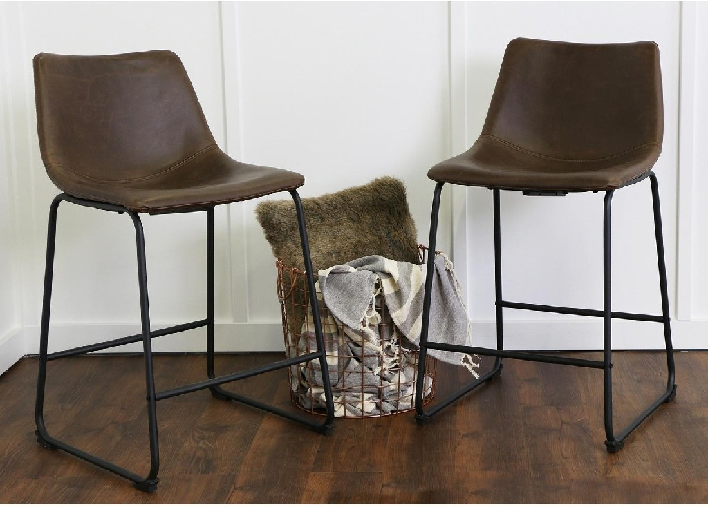 """26"""" Industrial Faux Leather Counter Stools - Brown (Set of 2) - Walker Edison CHL26BR"""